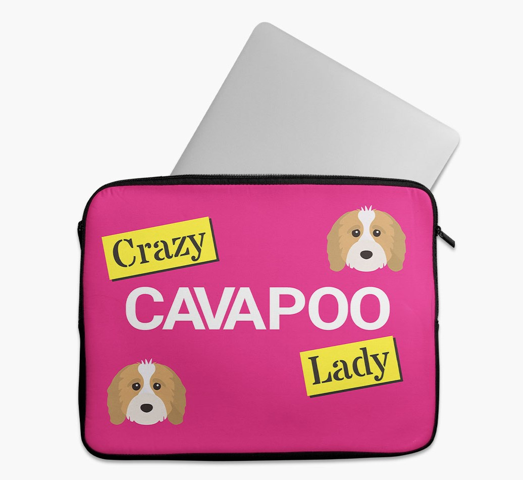 'Crazy Dog Lady' Tech Pouch with Cavapoo Yappicon