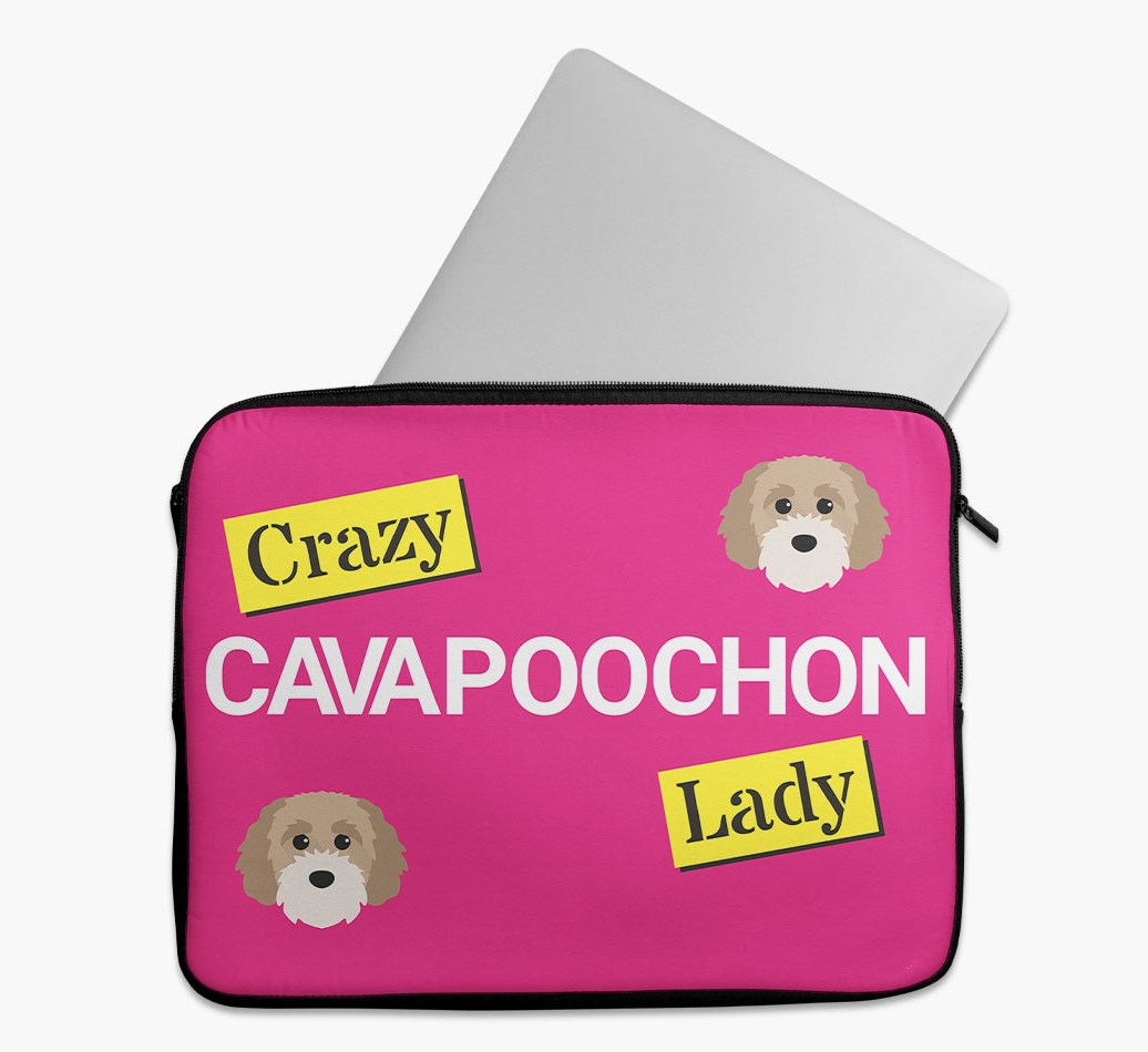 'Crazy Dog Lady' Tech Pouch with Cavapoochon Yappicon