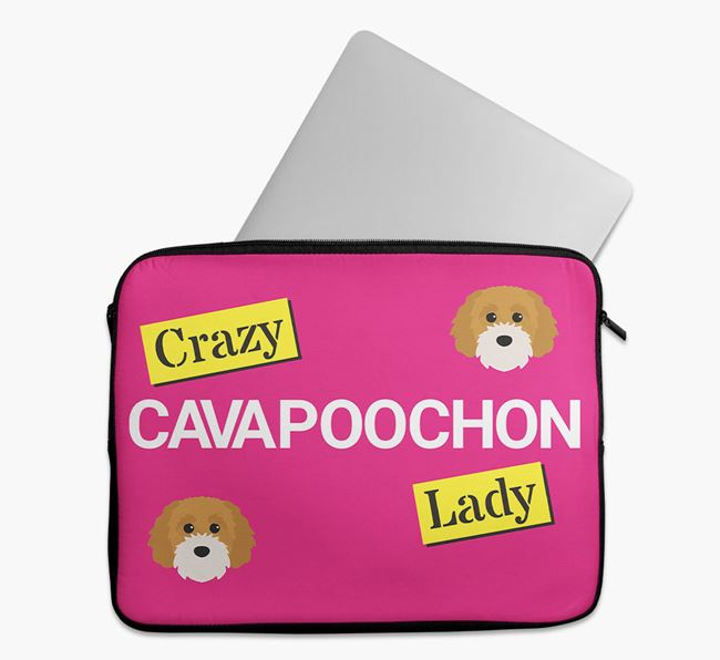 'Crazy Dog Lady' Tech Pouch with Cavapoochon Icons