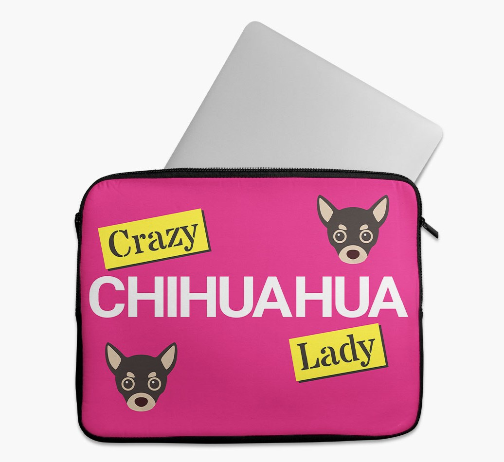 'Crazy Dog Lady' Tech Pouch with Chihuahua Yappicon