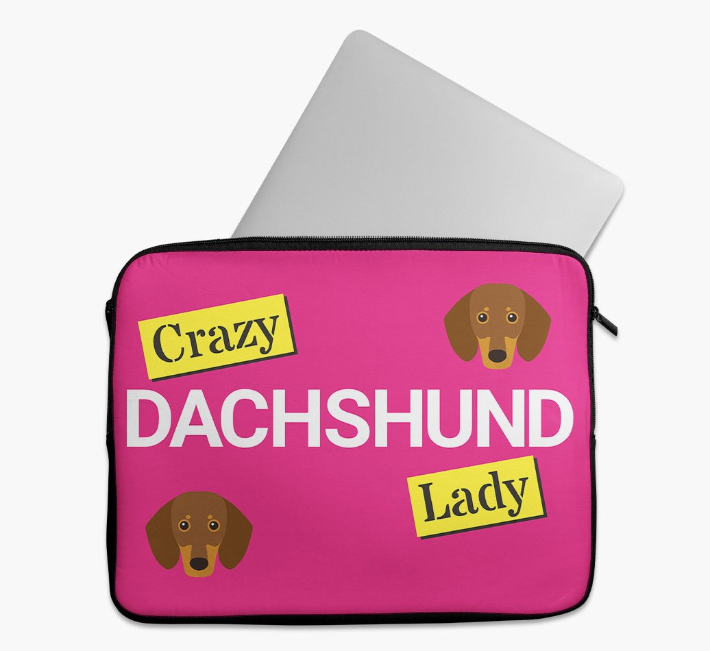 'Crazy Dog Lady' Tech Pouch with Dachshund Yappicon