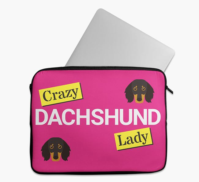 'Crazy Dog Lady' Tech Pouch with Dachshund Icons