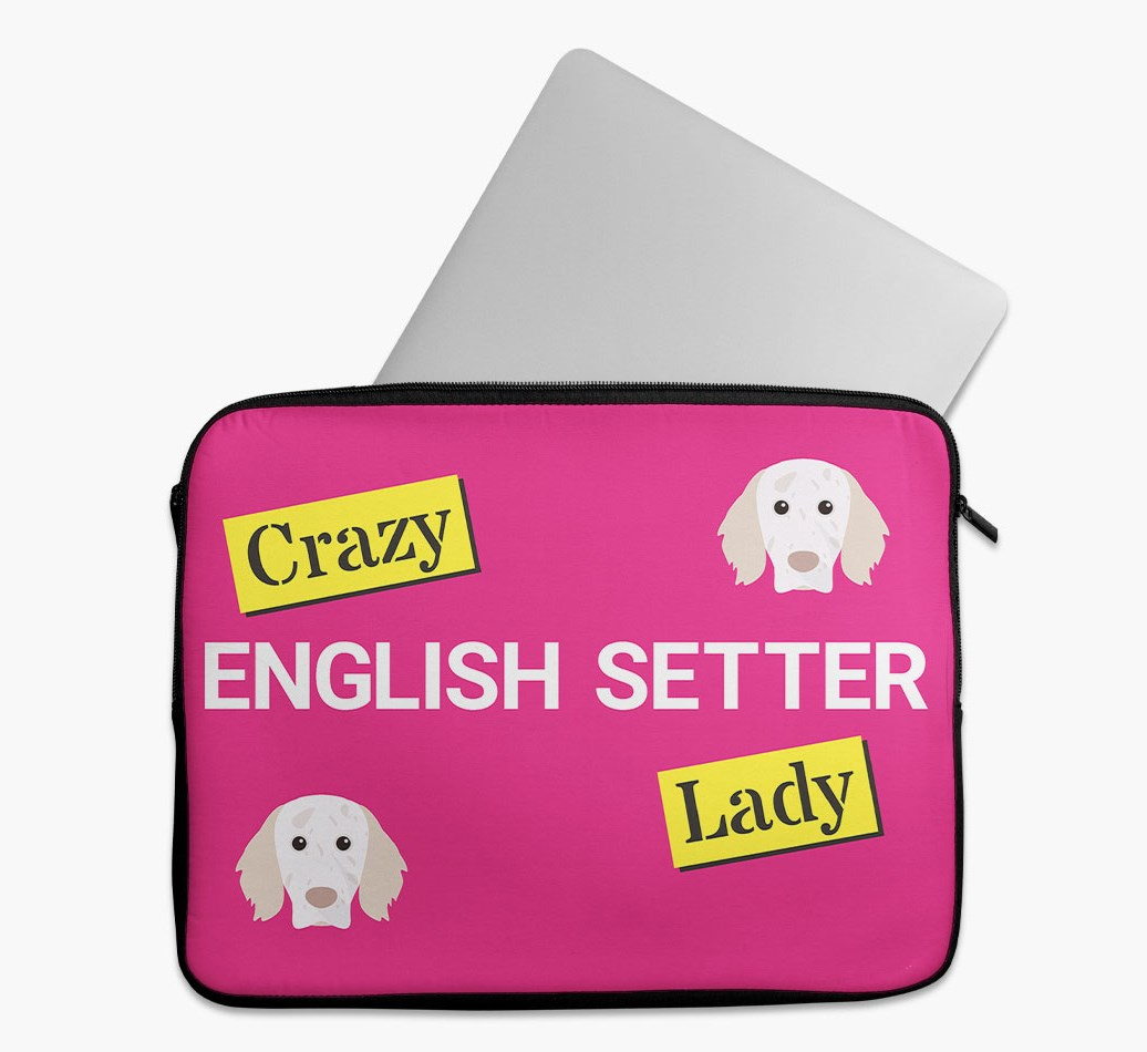'Crazy Dog Lady' Tech Pouch with English Setter Yappicon