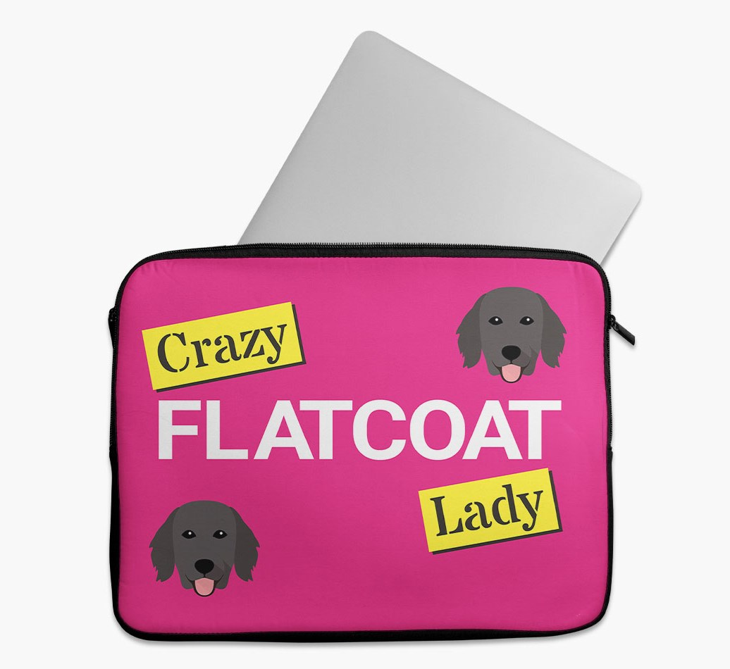 'Crazy Dog Lady' Tech Pouch with Flat-Coated Retriever Yappicon