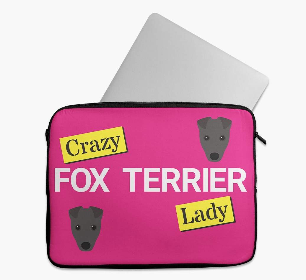 'Crazy Dog Lady' Tech Pouch with Fox Terrier Yappicon