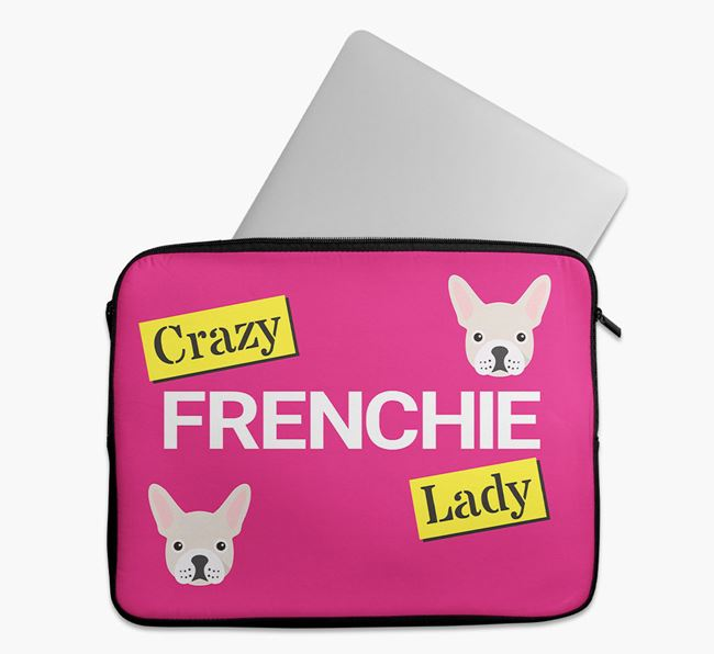 'Crazy Dog Lady' Tech Pouch with French Bulldog Icons