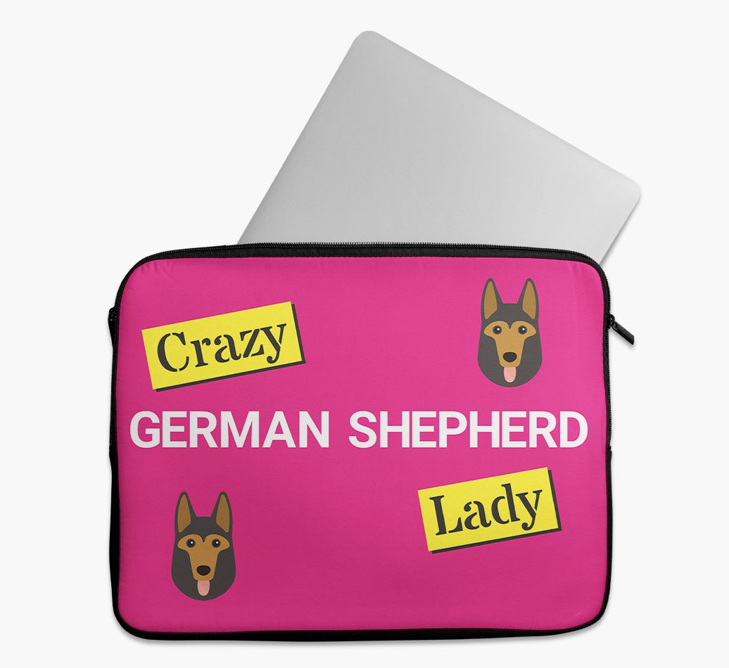 'Crazy Dog Lady' Tech Pouch with German Shepherd Yappicon