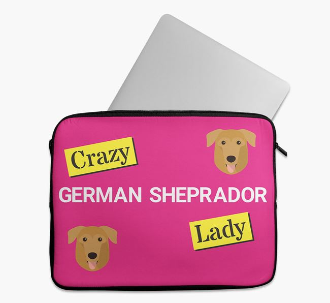 'Crazy Dog Lady' Tech Pouch with German Sheprador Icons