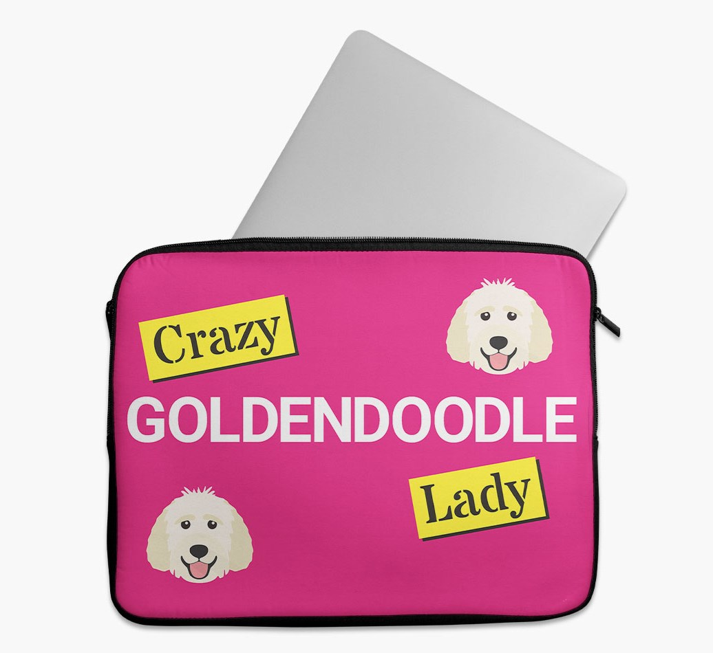 'Crazy Dog Lady' Tech Pouch with Goldendoodle Yappicon