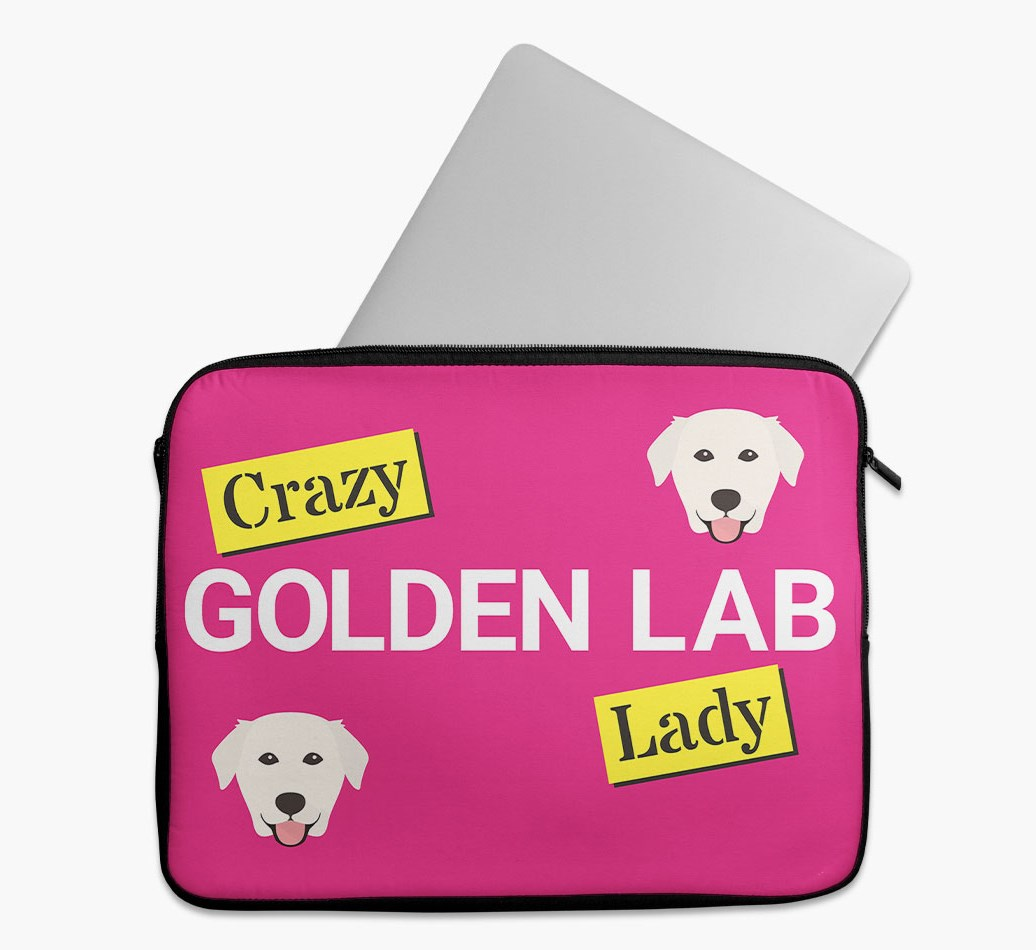 'Crazy Dog Lady' Tech Pouch with Golden Labrador Yappicon