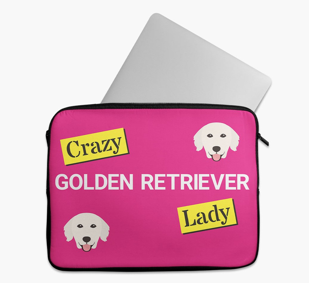 'Crazy Dog Lady' Tech Pouch with Golden Retriever Yappicon
