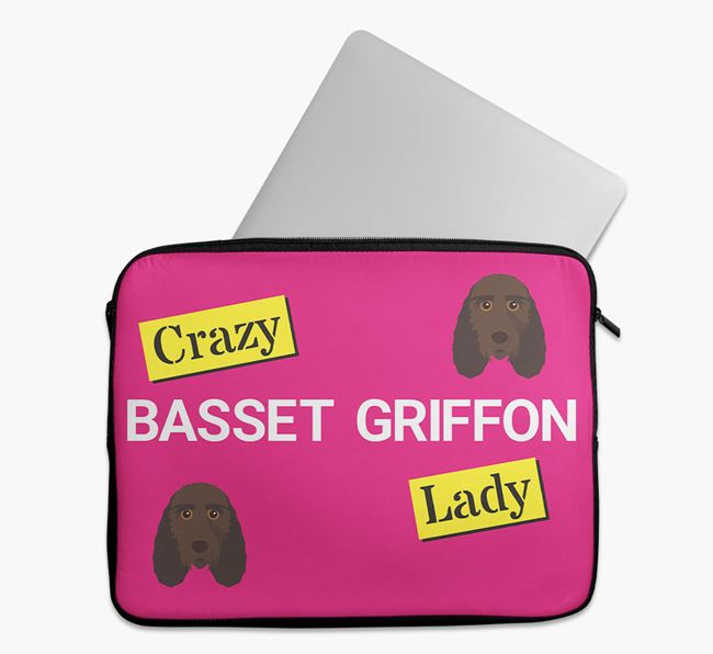 'Crazy Dog Lady' Tech Pouch with Grand Basset Griffon Vendeen Icons