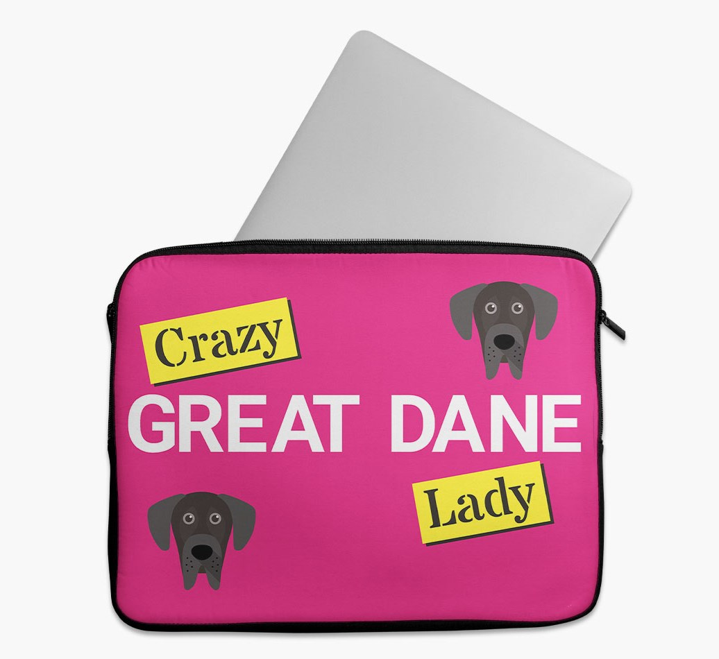 'Crazy Dog Lady' Tech Pouch with Great Dane Yappicon
