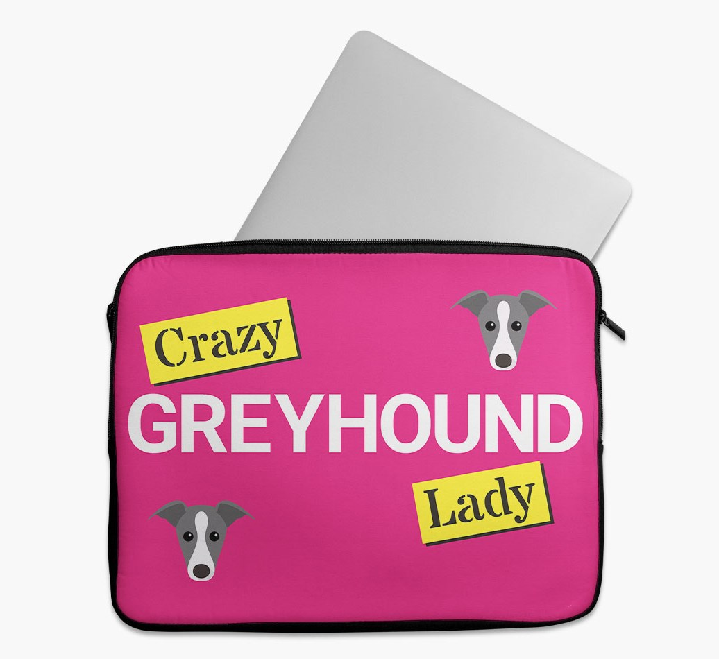 'Crazy Dog Lady' Tech Pouch with Greyhound Yappicon