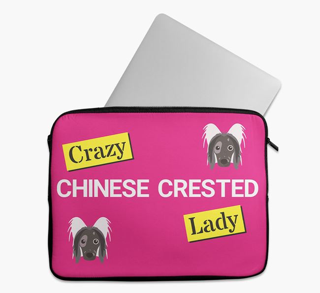 'Crazy Dog Lady' Tech Pouch with Hairless Chinese Crested Icons