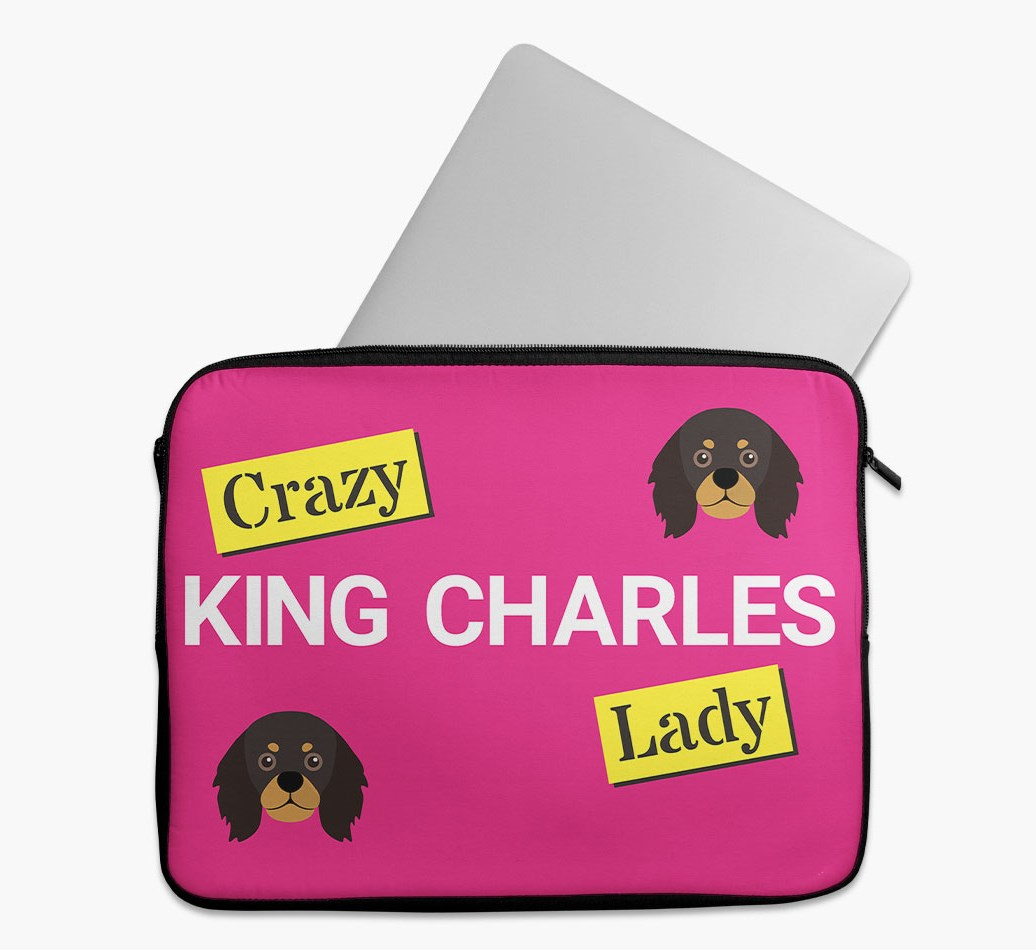 'Crazy Dog Lady' Tech Pouch with King Charles Spaniel Yappicon