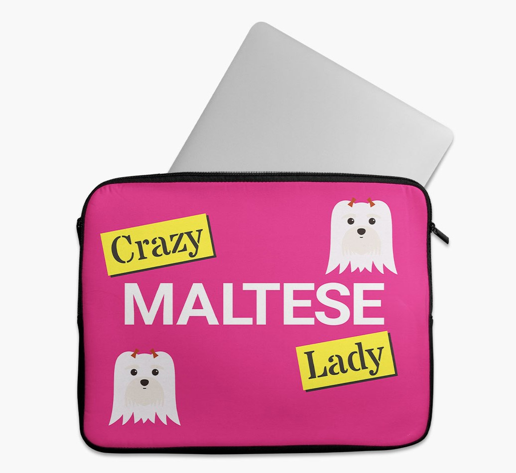 'Crazy Dog Lady' Tech Pouch with Maltese Yappicon