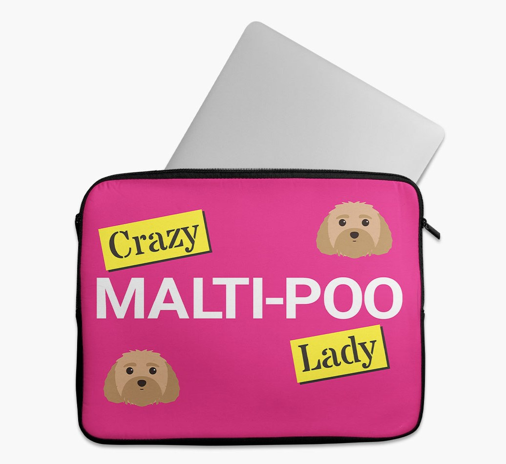 'Crazy Dog Lady' Tech Pouch with Malti-Poo Yappicon
