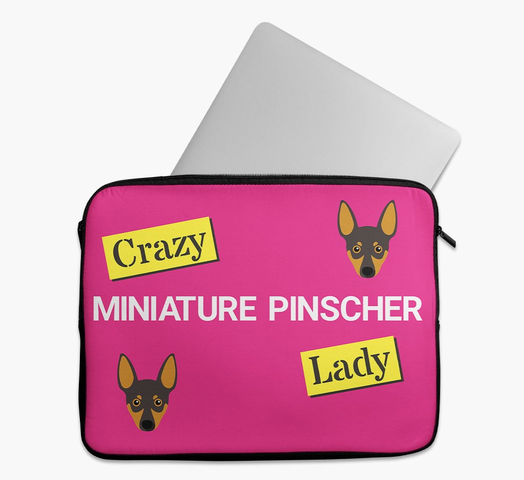 'Crazy Dog Lady' Tech Pouch with Miniature Pinscher Yappicon
