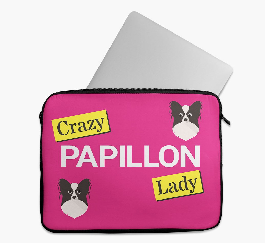 'Crazy Dog Lady' Tech Pouch with Papillon Yappicon