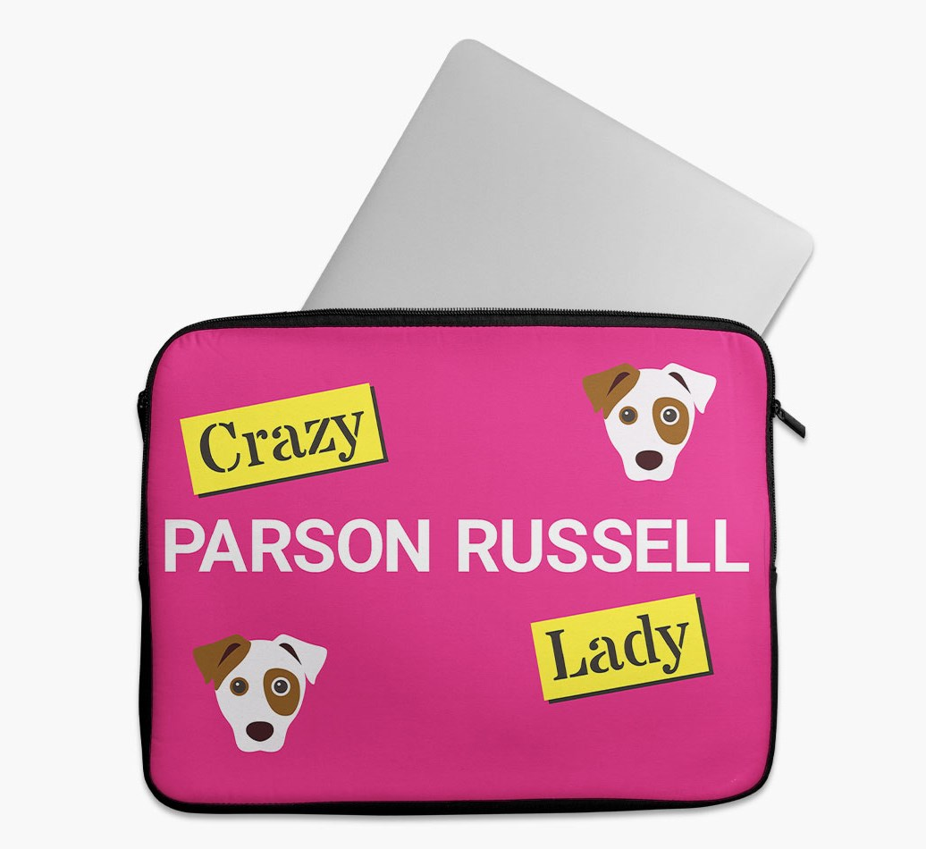 'Crazy Dog Lady' Tech Pouch with Parson Russell Terrier Yappicon