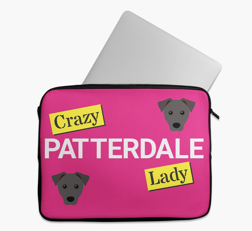 'Crazy Dog Lady' Tech Pouch with Patterdale Terrier Yappicon