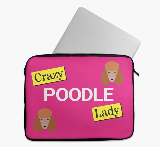 'Crazy Dog Lady' Tech Pouch with Poodle Icons