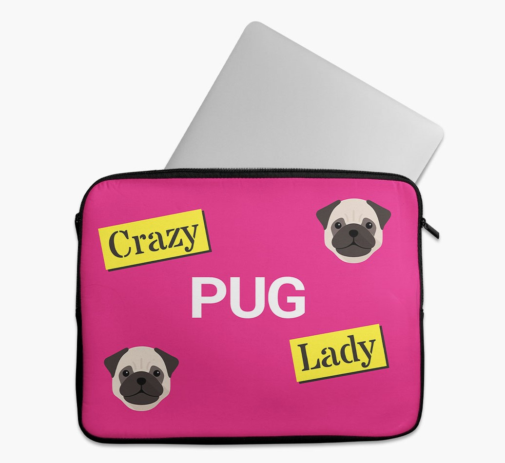 'Crazy Dog Lady' Tech Pouch with Pug Yappicon