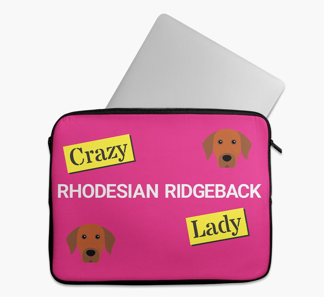 'Crazy Dog Lady' Tech Pouch with Rhodesian Ridgeback Yappicon