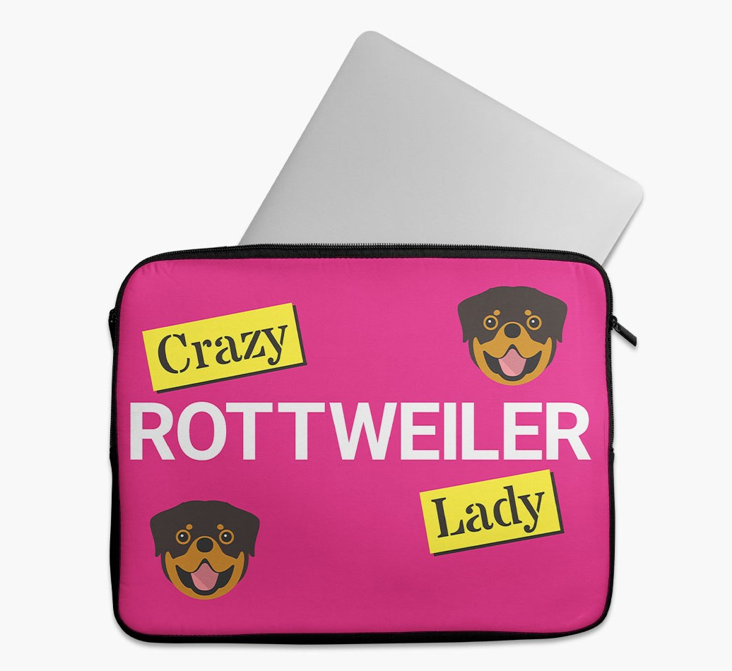 'Crazy Dog Lady' Tech Pouch with Rottweiler Yappicon