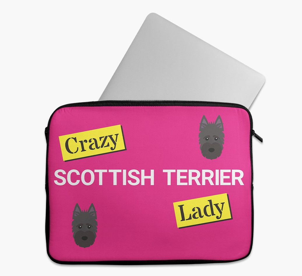 'Crazy Dog Lady' Tech Pouch with Scottish Terrier Yappicon