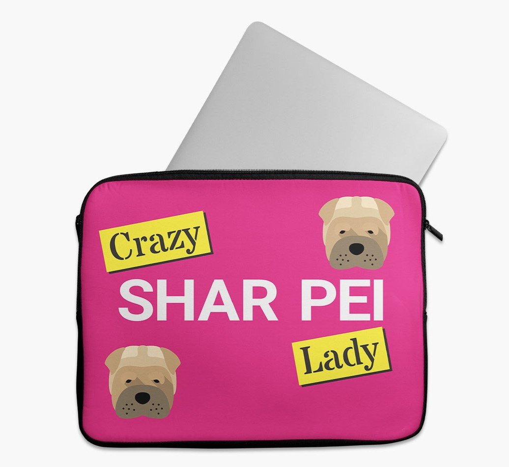 'Crazy Dog Lady' Tech Pouch with Shar Pei Yappicon