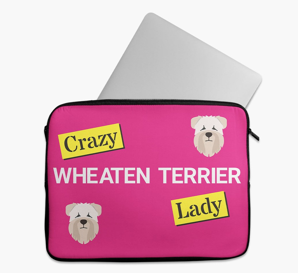 'Crazy Dog Lady' Tech Pouch with Soft Coated Wheaten Terrier Yappicon