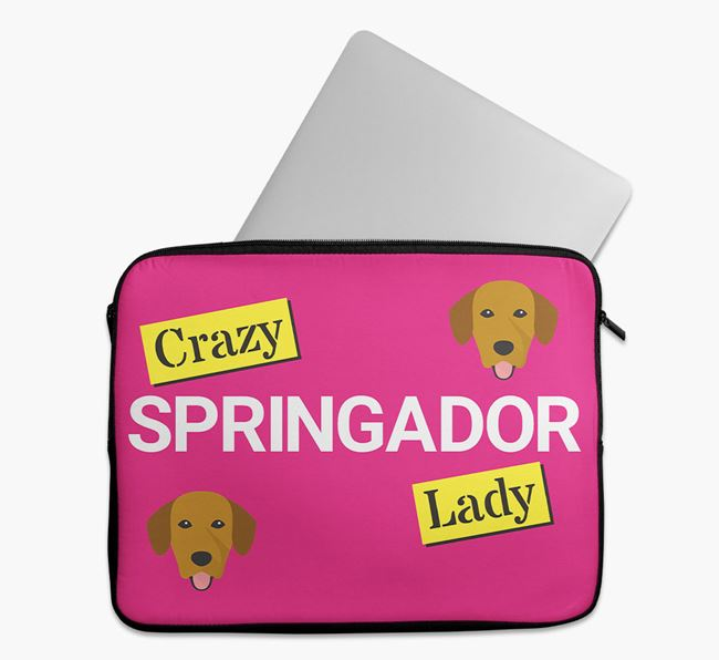 'Crazy Dog Lady' Tech Pouch with Springador Icons