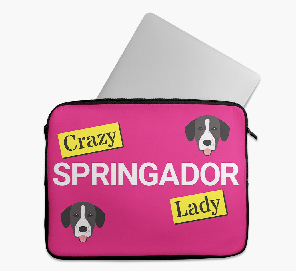 'Crazy Dog Lady' Tech Pouch with Springador Yappicon