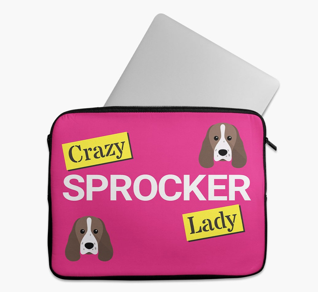 'Crazy Dog Lady' Tech Pouch with Sprocker Yappicon