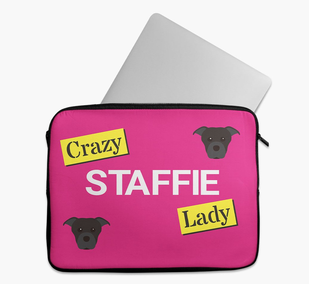 'Crazy Dog Lady' Tech Pouch with Staffordshire Bull Terrier Yappicon