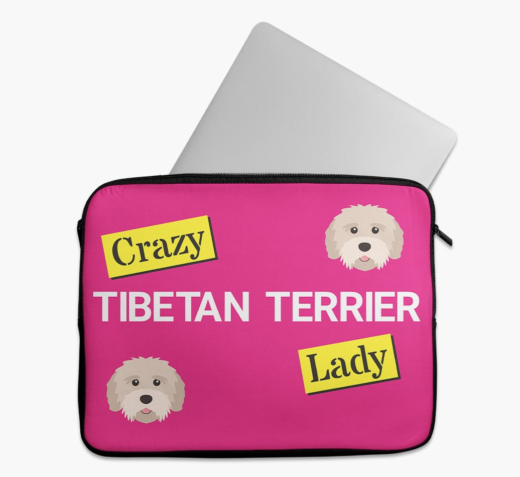 'Crazy Dog Lady' Tech Pouch with Tibetan Terrier Yappicon