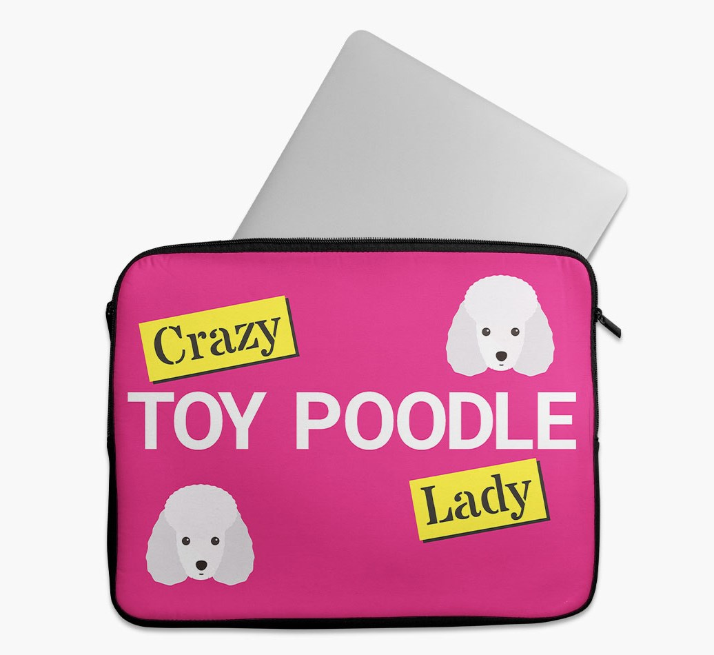 'Crazy Dog Lady' Tech Pouch with Toy Poodle Yappicon