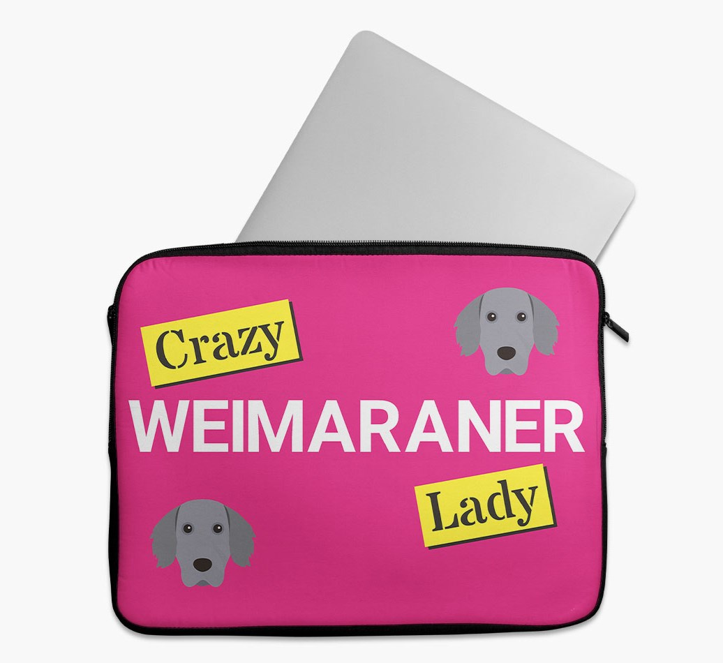 'Crazy Dog Lady' Tech Pouch with Weimaraner Yappicon