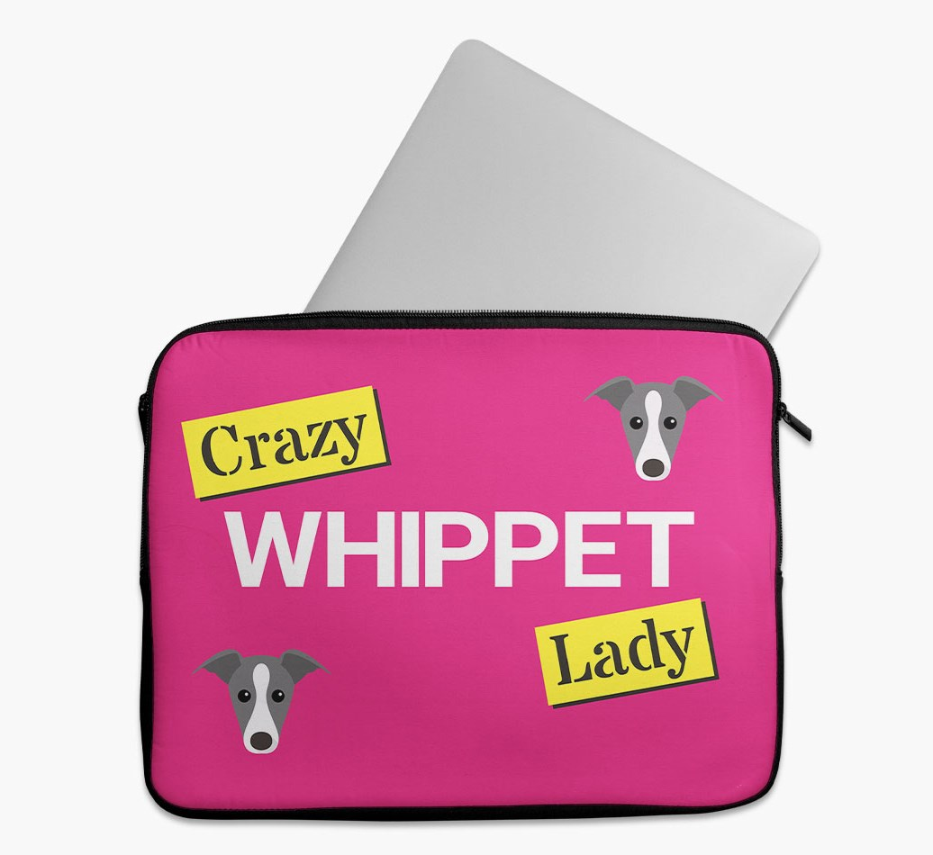 'Crazy Dog Lady' Tech Pouch with Whippet Yappicon
