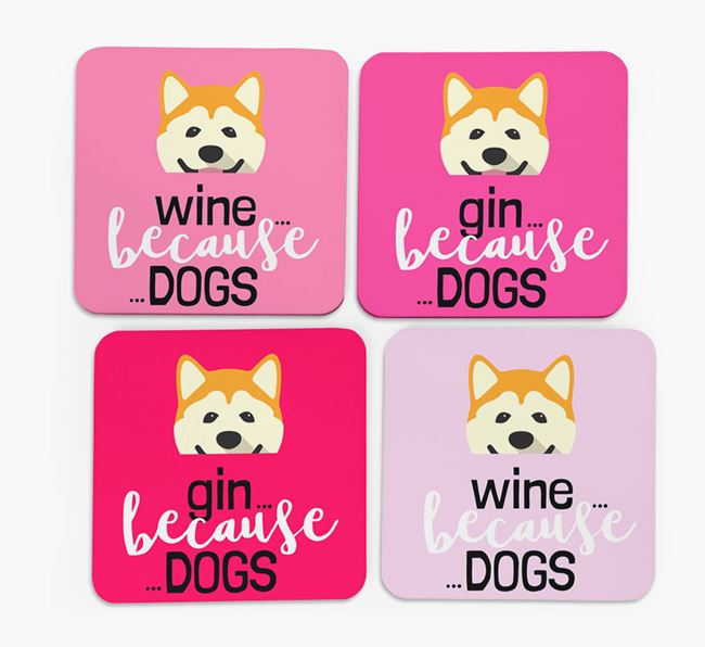 'Wine/Gin Because...Dogs' Coasters with Akita icon - Set of 4