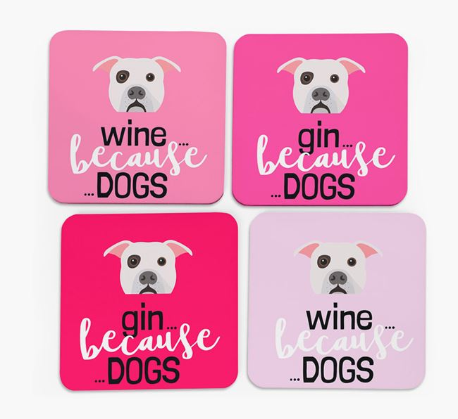 'Wine/Gin Because...Dogs' Coasters with American Bulldog icon - Set of 4