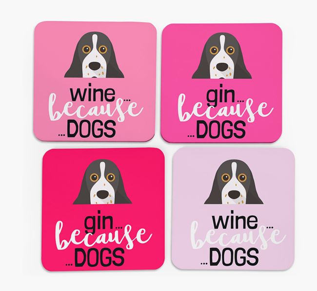 'Wine/Gin Because...Dogs' Coasters with American Cocker Spaniel icon - Set of 4