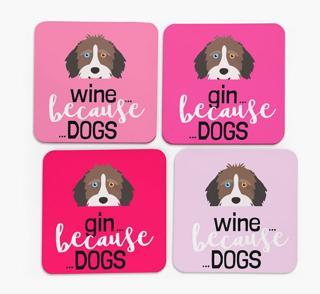 'Wine/Gin Because...Dogs' Coasters with Aussiedoodle icon - Set of 4