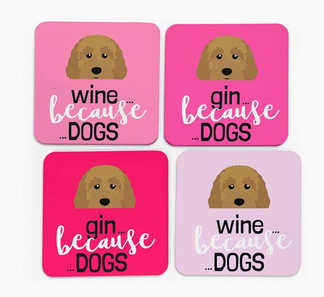 'Wine/Gin Because...Dogs' Coasters with Australian Labradoodle icon - Set of 4