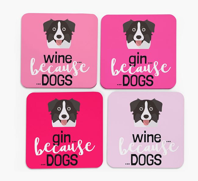 'Wine/Gin Because...Dogs' Coasters with Australian Shepherd icon - Set of 4