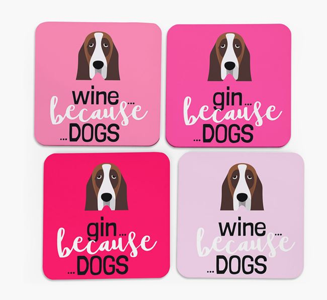 'Wine/Gin Because...Dogs' Coasters with Basset Hound icon - Set of 4