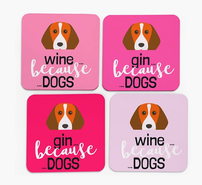 'Wine/Gin Because...Dogs' Coasters with Beagle icon - Set of 4