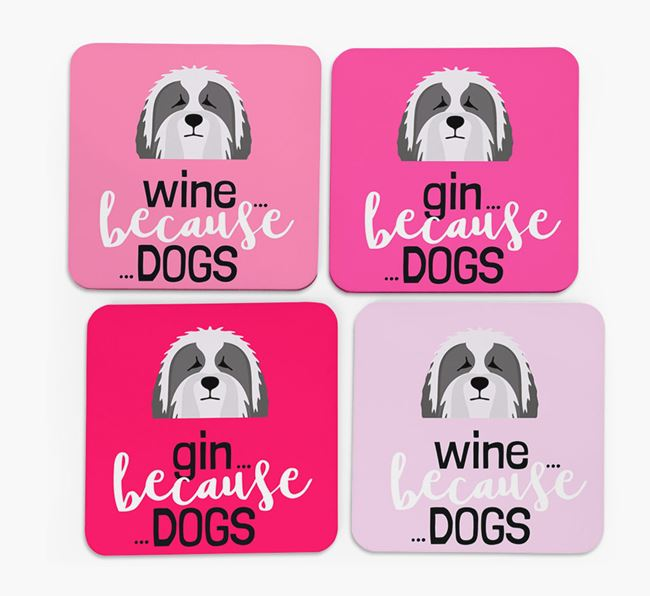 'Wine/Gin Because...Dogs' Coasters with Bearded Collie icon - Set of 4